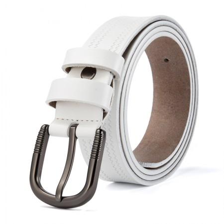 海谜璃(HMILY)新款优质牛皮女士皮带复古时尚压花皮带简约休闲腰带礼盒装 H60·白色