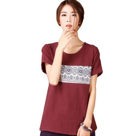 韩版印花百搭宽松短袖体恤DD1728· 酒红色