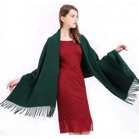 Wise Heburn 纯色时尚流苏披肩围巾·墨绿