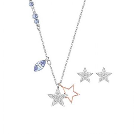 澳洲直邮 施华洛世奇 星星水晶项链耳钉套装