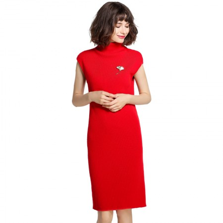 Mareunrols半高领无袖宽松针织连衣裙·红色