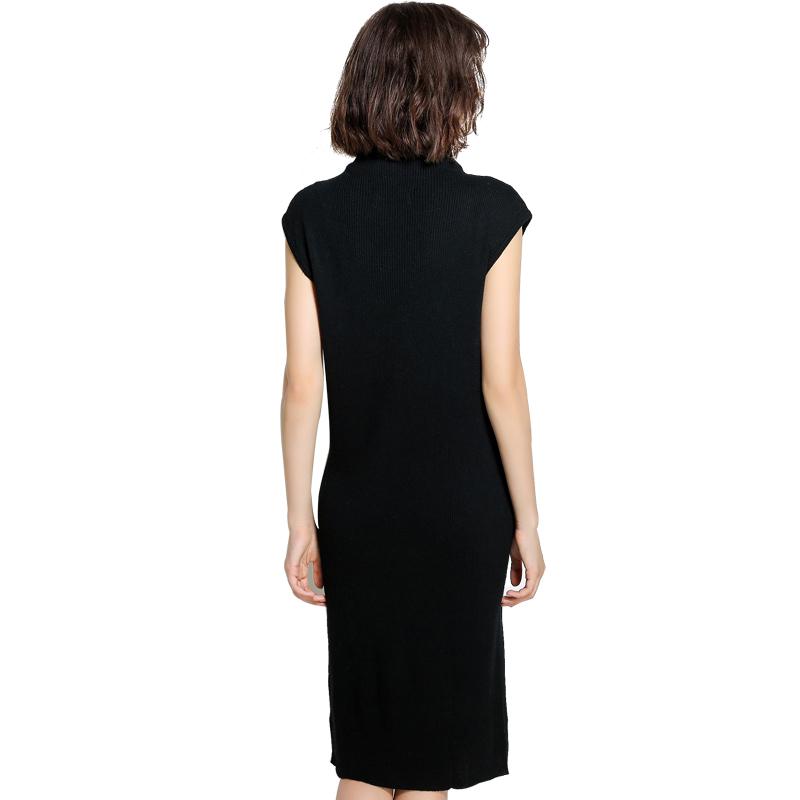Mareunrols半高领无袖宽松针织连衣裙·黑色