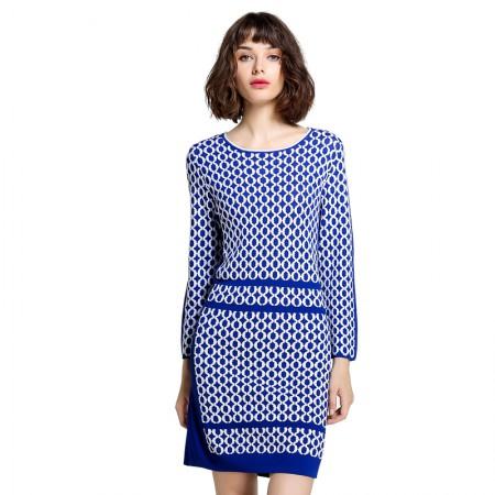 Mareunrols蓝白撞色提花针织连衣裙·蓝色