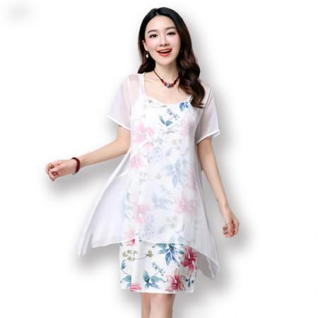 莺卡 盘扣花开绽放棉麻连衣裙套装·白色