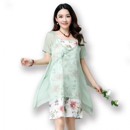 莺卡 盘扣古韵印花棉麻连衣裙套装·绿色
