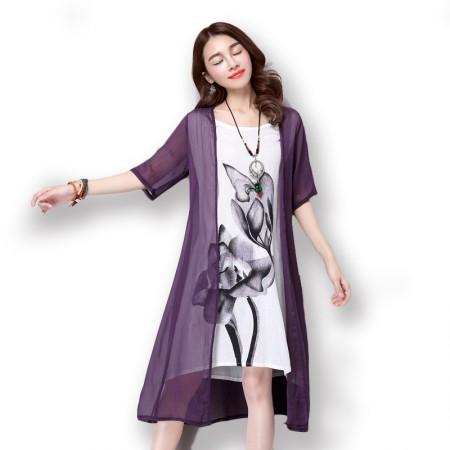 莺卡 飘逸水墨画假两件棉麻连衣裙·紫色/白色