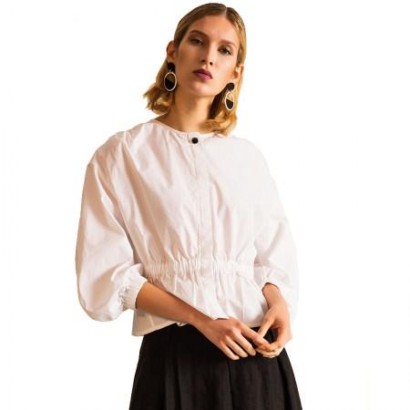 今升 全棉圆领灯笼袖长袖女衬衫·白色