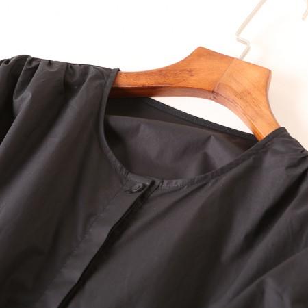 今升 全棉圆领灯笼袖长袖女衬衫·黑色
