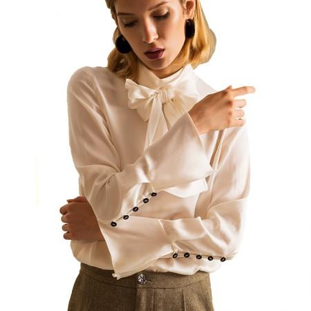 今升 蝴蝶结喇叭袖真丝长袖女衬衫·白色