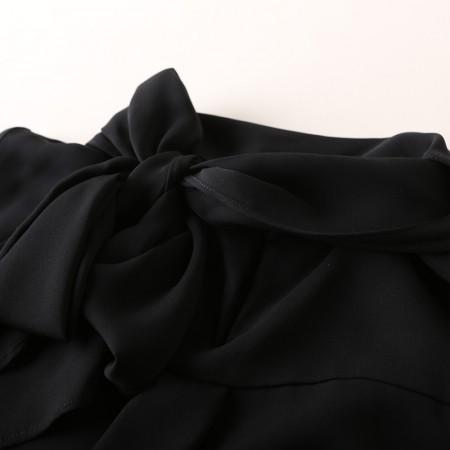 今升 蝴蝶结喇叭袖真丝长袖女衬衫·黑色