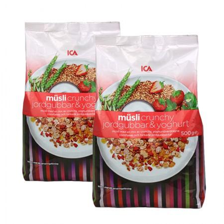 瑞典ICA 草莓酸奶粗粮混合麦片·500g*2袋