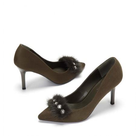 达芙妮毛绒水钻尖头细跟高跟女单鞋1017404010·橄榄绿