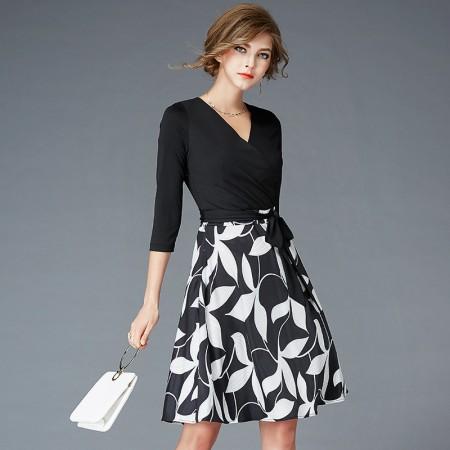 丝朵之丽 时尚气质印花V领连衣裙·图片色