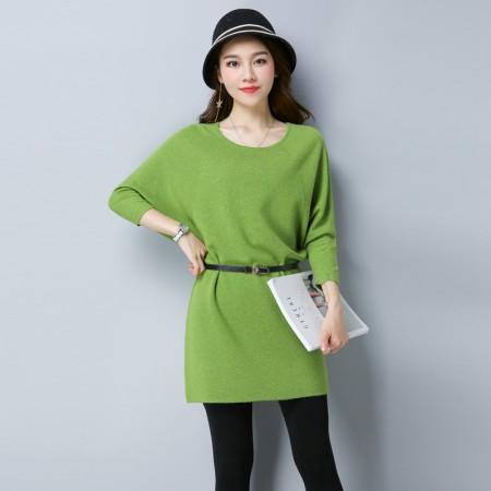 多多的世界 系带收腰蝙蝠七分袖羊毛衫送腰带DD17QD01·草绿色