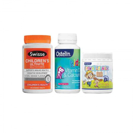 澳洲直邮 儿童套装 Swisse儿童维生素120粒+Ostelin小恐龙钙片90