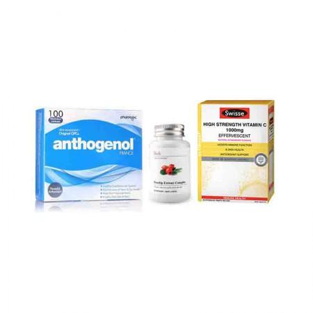澳洲直邮 护肤养颜套装 Anthogenol月光宝盒+Unichi玫瑰果精华+S