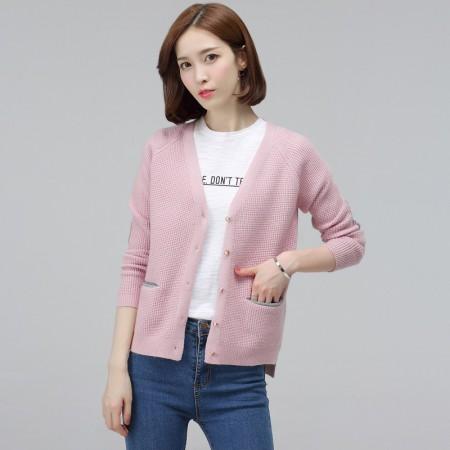 多多的世界 长袖提花毛衣百搭针织衫开叉小外套 DD17QD16·粉色