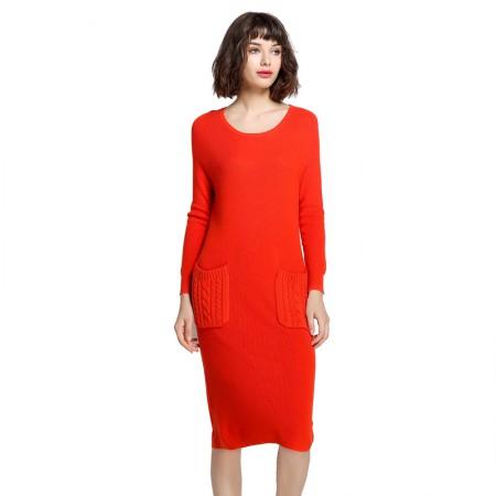 Mareunrols纯色圆领长袖口袋提花连衣裙·橙色