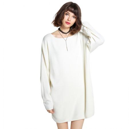 Mareunrols圆领长袖针织连衣裙·白色
