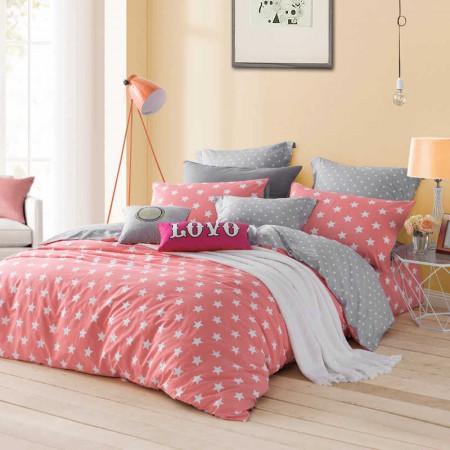 LOVO家纺时尚生活 橘色6尺 纯棉全棉床上用品四件套(罗莱生活出品)