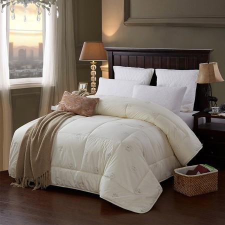 莱薇 全棉纯新羊毛被保暖冬被加厚被芯被子200*230cm·米黄