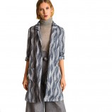 今升 经典波浪纹修身五分袖小西装长款外套·黑白波浪纹