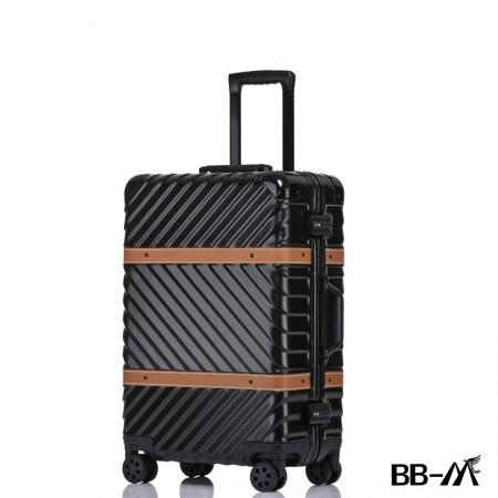 BBM商务行李铝框箱男登机箱女密码箱拉杆旅行箱万向轮皮箱韩版硬箱26寸·黑色