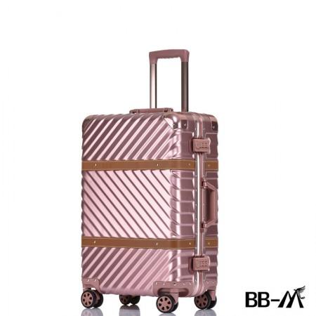 BBM商务行李铝框箱男登机箱女密码箱拉杆旅行箱万向轮皮箱韩版硬箱29寸·玫瑰金
