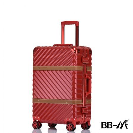 BBM商务行李铝框箱男登机箱女密码箱拉杆旅行箱万向轮皮箱韩版硬箱29寸·红色