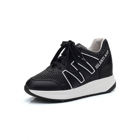 Garthphil 休闲运动内增高舒适小白鞋女·黑色