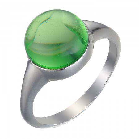 【北欧四季系列-春季】银镶平底圆形柯巴脂戒指·绿色