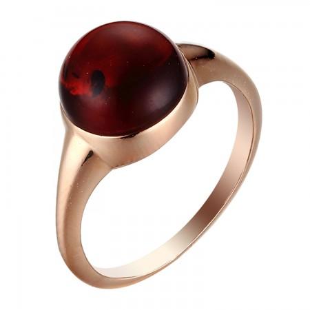 【北欧四季系列-秋季】银镀金镶平底圆形血珀戒指·棕红