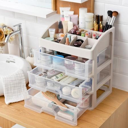 [JM]多功能3层桌面首饰化妆品收纳盒·透明