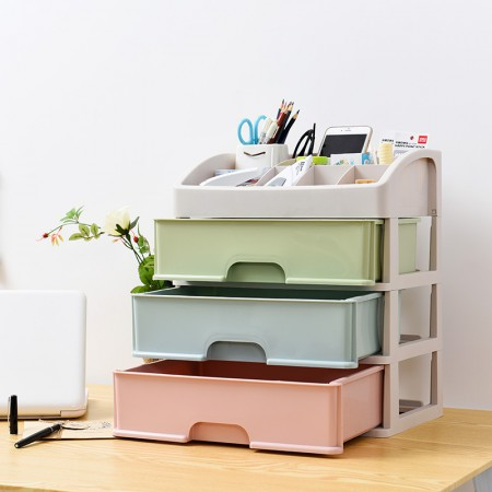 [JM]多功能3层桌面首饰化妆品收纳盒·马卡龙彩色