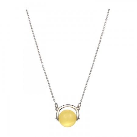 【北欧四季系列-冬季】银镶圆珠蜜蜡项坠·棕黄