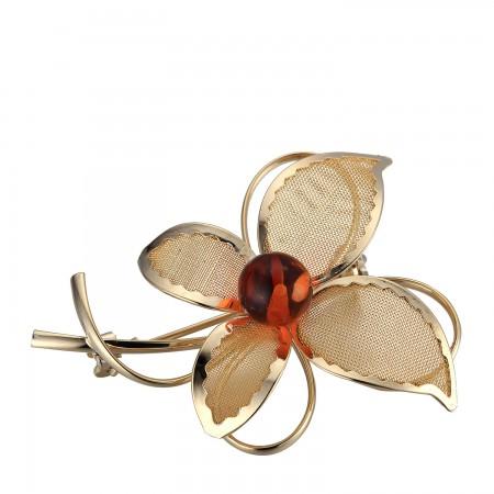 镀金蝴蝶款胸针·棕黄