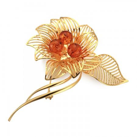 镀金花款胸针·棕黄