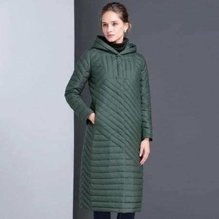 漫丽依 秋冬轻薄型过膝中长款羽绒服·军绿
