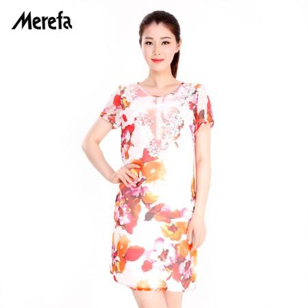 Merefa真丝雪纺连衣裙·红色DHSLQ031