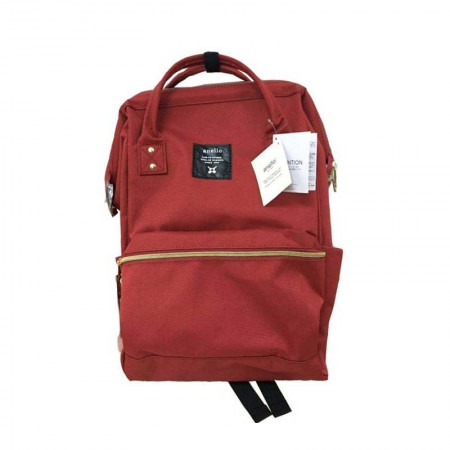 香港直邮 日本anello 男女帆布背包双肩包 大号·酒红色