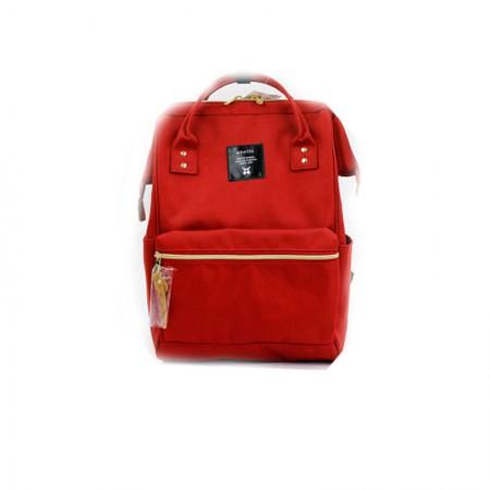 香港直邮 日本anello 男女帆布背包双肩包 大号·大红色