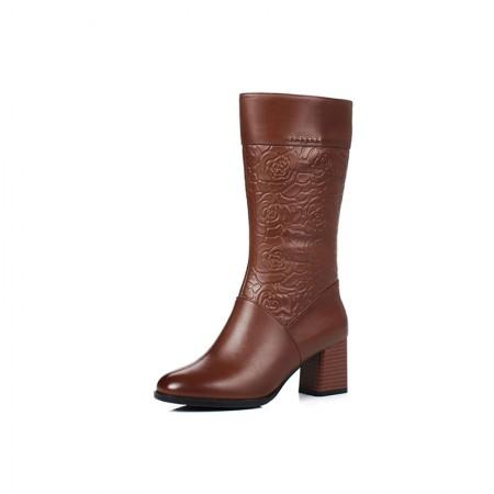 Garthphil 粗跟英伦中筒复古加绒骑士靴·棕色