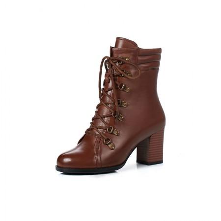 Garthphil 牛皮粗跟系带英伦短靴马丁靴·棕色