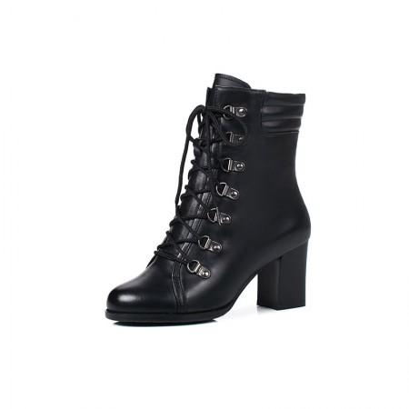 Garthphil 牛皮粗跟系带英伦短靴马丁靴·黑色