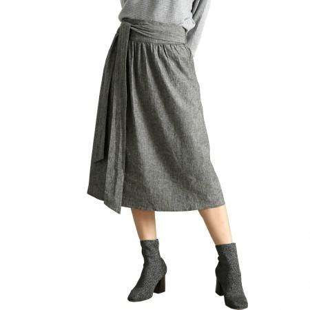 今升 高腰棉麻系带修身半身裙·灰色