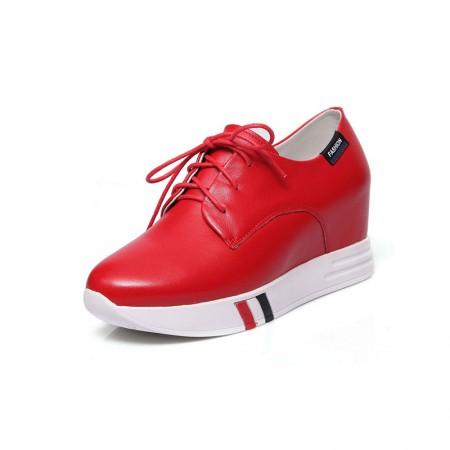 Garthphil 牛皮休闲厚底内增高乐福鞋潮·红色