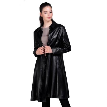 今升 衬衫领单排两粒扣绵羊皮皮风衣中长款女外套·黑色