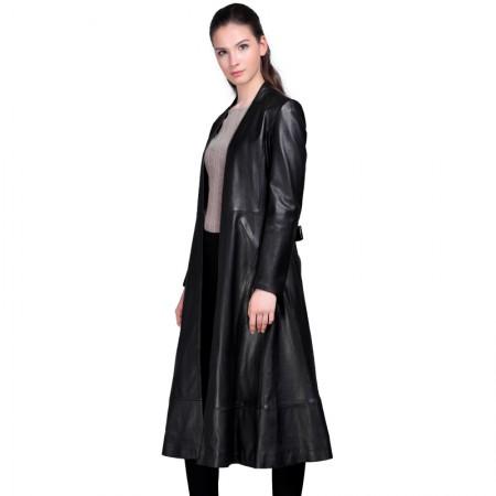 今升 V字领宽松绵羊皮皮风衣长款女外套(配腰带)·黑色