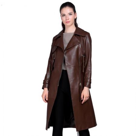 今升 西装领收腰绵羊皮皮风衣长款女外套(配腰带)·棕色