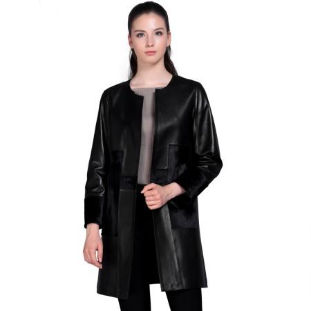 今升 圆领修身绵羊皮皮风衣长款女外套·黑色